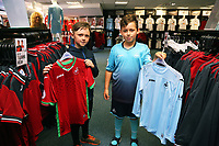 Pictured L-R: Jack Lewis, 9 and Bailey Dyer, 10. Saturday 01 July 2017<br /> Re: The new 2017-2018 season, Swansea City FC kit has officially gone on sale at the club's Liberty Stadium shop, Wales, UK
