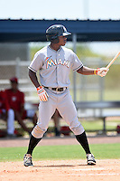 GCL Marlins outfielder Stone Garrett (22) at bat during a game against the GCL Nationals on June 28, 2014 at the Carl Barger Training Complex in Viera, Florida.  GCL Nationals defeated the GCL Marlins 5-0.  (Mike Janes/Four Seam Images)