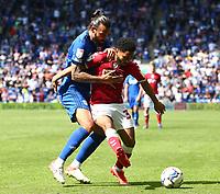 28th August 2021; Cardiff City Stadium, Cardiff, Wales;  EFL Championship football, Cardiff versus Bristol City; Jay Dasilva of Bristol City holds off the challenge from Marlon Pack of Cardiff City