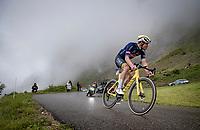 yellow jersey / GC leader Mathieu Van der Poel (NED/Alpecin-Fenix) descending the Col de la Colombière (1618 m)<br /> <br /> Stage 8 from Oyonnax to Le Grand-Bornand (151km)<br /> 108th Tour de France 2021 (2.UWT)<br /> <br /> ©kramon