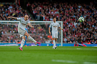 LONDON, ENGLAND - MAY 11 Jonjo Shelvey of Swansea City  takes a missed shot at goal during  to the Premier League match between Arsenal and Swansea City at Emirates Stadium on May 11, 2015 in London, England.  (Photo by Athena Pictures/Getty Images)