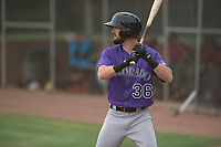 Colorado Rockies outfielder David Dahl (36) at bat during an Extended Spring Training game against the Arizona Diamondbacks at Salt River Fields at Talking Stick on April 16, 2018 in Scottsdale, Arizona. (Zachary Lucy/Four Seam Images)
