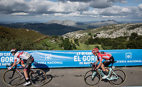 2 Slovenian countrymen fighting for the stage win: (eventual winner) Tadej Pogačar (SVN/UAE-Emirates) leading the sprint ahead of red jersey (overall leader) Primoz Roglic (SVN/Jumbo-Visma) after climbing the extremely brutal Alto de los Machucos .<br /> Roglic hereby puts major time into his main GC competitors, except for Pogačar who has now moved up to 3rd in the GC.<br /> <br /> Stage 13: Bilbao to Los Machucos / Monumento Vaca Pasiega (166km)<br /> La Vuelta 2019<br /> <br /> ©kramon