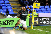 Ofisa Treviranus of London Irish celebrates scoring a try during the Aviva Premiership match between London Irish and Saracens at the Madejski Stadium on Saturday 9th February 2013 (Photo by Rob Munro)
