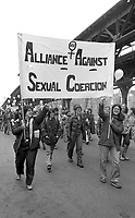 Alliance Against Sexual Coercion (AASC) marching in a demonstration for reproductive rights for women 3.31.79 Boston Massachusetts