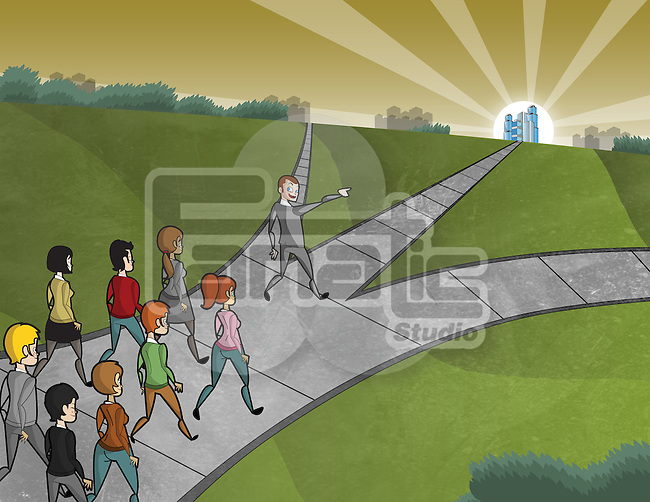 Conceptual image of man leading group of people to the right way