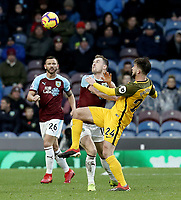 Burnley's Ashley Barnes vies for possession with Brighton & Hove Albion's Davy Propper<br /> <br /> Photographer Rich Linley/CameraSport<br /> <br /> The Premier League - Burnley v Brighton and Hove Albion - Saturday 8th December 2018 - Turf Moor - Burnley<br /> <br /> World Copyright © 2018 CameraSport. All rights reserved. 43 Linden Ave. Countesthorpe. Leicester. England. LE8 5PG - Tel: +44 (0) 116 277 4147 - admin@camerasport.com - www.camerasport.com