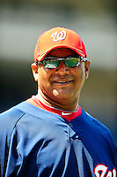 22 April 2010: Washington Nationals' field staffer Jose Martinez smiles during batting practice prior to a game against the Colorado Rockies at Nationals Park in Washington, DC. The Nationals were shut out by the Rockies 2-0 closing out their series with a 2-2 game split. Mandatory Credit: Ed Wolfstein Photo