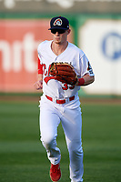 Peoria Chiefs right fielder Bryce Denton (33) jogs back to the dugout during a game against the West Michigan Whitecaps on May 9, 2017 at Dozer Park in Peoria, Illinois.  Peoria defeated West Michigan 3-1.  (Mike Janes/Four Seam Images)