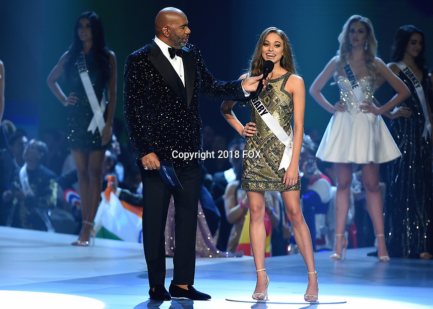 BANGKOK, THAILAND - DECEMBER 17:   Host Steve Harvey and Miss Hungary Eniko? Kecske?s at the 2018 MISS UNIVERSE competition at the Impact Arena in Bangkok, Thailand on December 17, 2018. (Photo by Frank Micelotta/FOX/PictureGroup)