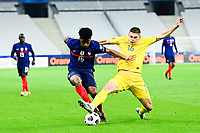 24th March 2021; Stade De France, Saint-Denis, Paris, France. FIFA World Cup 2022 qualification football; France versus Ukraine;  Kingsley Coman (France) vs Vitaliy Mykolenko (Ukraine)