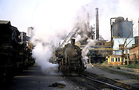 A steam train at the factory of Benxi Iron and Steel Group in Liaoning. China's second-largest steelmaker Anshan Iron & Steel Group has merged with smaller rival Benxi Steel Group to create a company with capacity that will match the mainland's biggest steelmaker, Shanghai Baosteel Group..22 Aug 2005