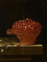 Bowl of Strawberries on a Stone Plinth - by Adriaen Coorte, 1696