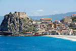 Italy, Calabria, Scilla: beach resort with castle Chianalea at entrance of Straits of Messina, long secluded beach at off season