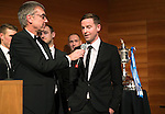 St Johnstone FC Scottish Cup Celebration Dinner at Perth Concert Hall...01.02.15<br /> Steven MacLean is interviewed on stage by Gordon Bannerman after watching video footage of his goal in the final<br /> Picture by Graeme Hart.<br /> Copyright Perthshire Picture Agency<br /> Tel: 01738 623350  Mobile: 07990 594431