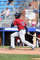 Mahoning Valley Scrappers outfielder Jorge Martinez (33) at bat during a game against the Jamestown Jammers on June 15, 2014 at Russell Diethrick Park in Jamestown, New York.  Jamestown defeated Mahoning Valley 9-4.  (Mike Janes/Four Seam Images)