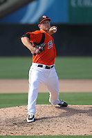 Bowie Baysox pitcher Michael Belfiore #12 delivers a pitch during a game against the New Hampshire Fisher Cats at Prince George's Stadium on June 17, 2012 in Bowie, Maryland. New Hampshire defeated Bowie 4-3 in 13 innings. (Brace Hemmelgarn/Four Seam Images)