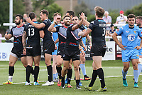 Ben Hellewell of London Broncos (3) celebrates with team mates after he scores his 2nd try of the game to make the score 28-10 during the Kingstone Press Championship match between London Broncos and Sheffield Eagles at Castle Bar , West Ealing , England  on 9 July 2017. Photo by David Horn.