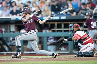 Mississippi State Bulldogs designated hitter Gunner Halter (2) follows through on his swing during Game 10 of the NCAA College World Series against the Louisville Cardinals on June 20, 2019 at TD Ameritrade Park in Omaha, Nebraska. Louisville defeated Mississippi State 4-3. (Andrew Woolley/Four Seam Images)