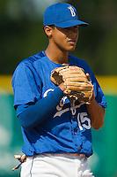 Burlington third baseman Antonio Jimenez (15) at Burlington Athletic Park in Burlington, NC, Thursday, July 12, 2007.