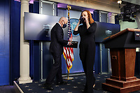 White House Press Secretary Jen Psaki walks out of the podium next to United States Secretary of Homeland Security Alejandro Mayorkas during the daily press briefing in the Brady Press Briefing Room of the White House on Monday, March 1, 2021 in Washington, DC. <br /> Credit: Oliver Contreras / Pool via CNP /MediaPunch