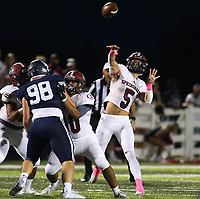 Landon Phipps (5) of Springdale passes the ball on Friday, Oct. 8, 2021, during the first half of play at Wildcat Stadium in Springdale. Visit nwaonline.com/211009Daily/ for today's photo gallery.<br /> (Special to the NWA Democrat-Gazette/David Beach)