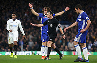 David Luiz of Chelsea frustrated complains to the referee after Fernando Llorente of Swansea City goes to ground after a collision during the Premier League match between Chelsea and Swansea City at Stamford Bridge, London, UK. Saturday 25 February 2017
