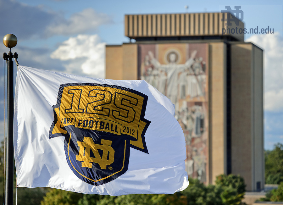 Sept. 22, 2012; Commemorative flags fly at Notre Dame Stadium in honor of the 125th anniversary of Notre Dame Football...Photo by Matt Cashore/University of Notre Dame