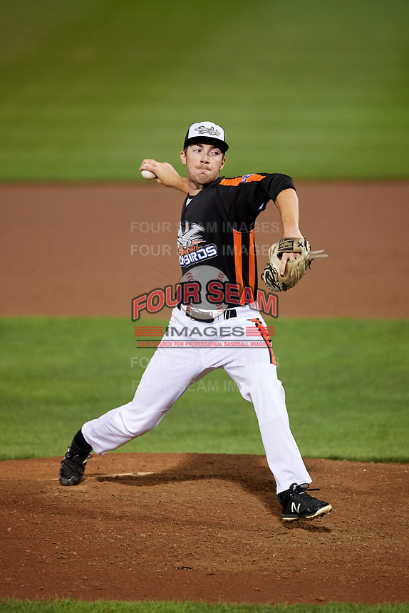 Aberdeen IronBirds relief pitcher Ryan Conroy (49) delivers a pitch during a game against the Staten Island Yankees on August 23, 2018 at Leidos Field at Ripken Stadium in Aberdeen, Maryland.  Aberdeen defeated Staten Island 6-2.  (Mike Janes/Four Seam Images)