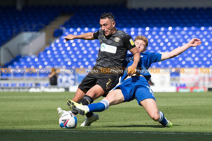 Gary Roberts, Wigan Athletic,  challenges with Teddy Bishop of Ipswich Town during Ipswich Town vs Wigan Athletic, Sky Bet EFL League 1 Football at Portman Road on 13th September 2020