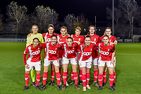 Team picture Standard ( goalkeeper Lisa Lichtfus (16) , defender Ellen Charlier (13) , forward Sylke Calleeuw (9) , midfielder Aster Janssens (5) , forward Sanne Schoenmakers (8) , midfielder Merel Bormans (4) and forward Lola Wajnblum (11) , forward Noemie Gelders (10) , midfielder Charlotte Cranshoff (18) , forward Davinia Vanmechelen (25) , defender Elien Nelissen (15) ) during a female soccer game between  AA Gent Ladies and Standard Femina de Liege on the 8 th matchday of the 2020 - 2021 season of Belgian Scooore Womens Super League , friday 20 th of November 2020  in Oostakker , Belgium . PHOTO SPORTPIX.BE | SPP | STIJN AUDOOREN