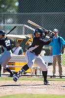 Chicago White Sox first baseman Harvin Mendoza (23) at bat during an Instructional League game against the Oakland Athletics at Lew Wolff Training Complex on October 5, 2018 in Mesa, Arizona. (Zachary Lucy/Four Seam Images)