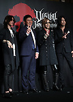 """July 25, 2016, Tokyo, Japan - Japanese visual-type rock singers Sugizo (L) of Luna Sea, Yoshiki (2nd R) of X Japan and Takuro (R ) of Glay pose for photo with Japanese online commerce giant Rakuten president Hiroshi Mikitani (2nd L) as they announced to have collaborated concert with other bands """"Visual Japan Summit 2016"""" in October at a press conference in Tokyo on Monday, July 25, 2016. The three-day concert will be supported by Rakuten.    (Photo by Yoshio Tsunoda/AFLO) LWX -ytd-"""