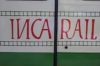 Peru, Machu Picchu.  Inca Rail Logo on Railroad Car.