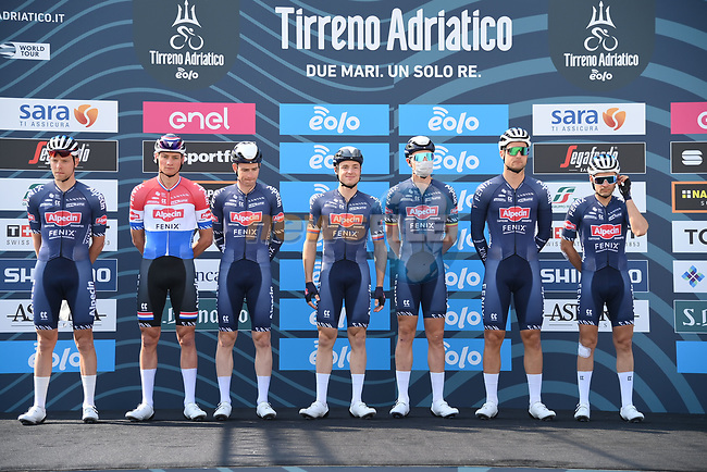 Alpecin Fenix at sign on before the start of Stage 1 of Tirreno-Adriatico Eolo 2021, running 156km from Lido di Camaiore to Lido di Camaiore, Italy. 10th March 2021. <br /> Photo: LaPresse/Gian Mattia D'Alberto | Cyclefile<br /> <br /> All photos usage must carry mandatory copyright credit (© Cyclefile | LaPresse/Gian Mattia D'Alberto)