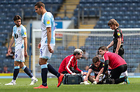 Bolton Wanderers' Joe Williams is treated for an injury<br /> <br /> Photographer Andrew Kearns/CameraSport<br /> <br /> The EFL Sky Bet Championship - Blackburn Rovers v Bolton Wanderers - Monday 22nd April 2019 - Ewood Park - Blackburn<br /> <br /> World Copyright © 2019 CameraSport. All rights reserved. 43 Linden Ave. Countesthorpe. Leicester. England. LE8 5PG - Tel: +44 (0) 116 277 4147 - admin@camerasport.com - www.camerasport.com