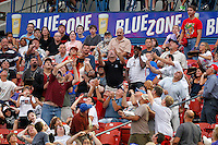 Buffalo Bisons fans reaching for a foul ball during a game against the Syracuse Chiefs at Coca-Cola Field on September 1, 2011 in Buffalo, New York.  Syracuse defeated Buffalo 6-2.  (Mike Janes/Four Seam Images)