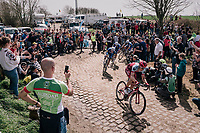 Tony Martin (GER/Katusha-Alpecin) chased by his former QuickStep Floors team-mates<br /> <br /> 116th Paris-Roubaix (1.UWT)<br /> 1 Day Race. Compiègne - Roubaix (257km)