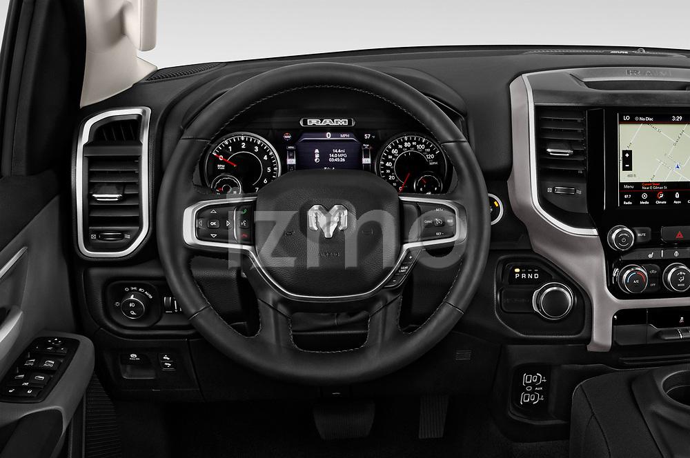 Car pictures of steering wheel view of a 2019 Ram Ram-1500-Pickup Big-Horn-Crew-Cab-SWB 4 Door Pickup Steering Wheel