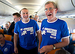 St Johnstone v Eskisehirspor....18.07.12  Uefa Cup Qualifyer.Mark Taylor from Perth (left) and Hamish Henderson from John o'Groats on the flight over to Turkey.Picture by Graeme Hart..Copyright Perthshire Picture Agency.Tel: 01738 623350  Mobile: 07990 594431