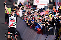 ITALIA. 09-05-2017. Jan Polanc -SLO- (UAE Team Emirates) celebra como ganador de la etapa 4 entre Cefalu' a Etna con 181 kms de la versión 100 del Giro de Italia hoy 09 de mayo de 2017. / Jan Polanc -SLO- (UAE Team Emirates) celebrates as stage 4 winner between Cefalu' to Etna with 181 kms of the 100 version of the Giro d'Italia today 09 May 2017 Photo: VizzorImage/  Gian Mattia D'Alberto / LaPresse<br /> VizzorImage PROVIDES THE ACCESS TO THIS PHOTOGRAPH ONLY AS A PRESS AND EDITORIAL SERVICE AND NOT IS THE OWNER OF COPYRIGHT; ANOTHER USE HAVE ADDITIONAL PERMITS AND IS  REPONSABILITY OF THE END USER