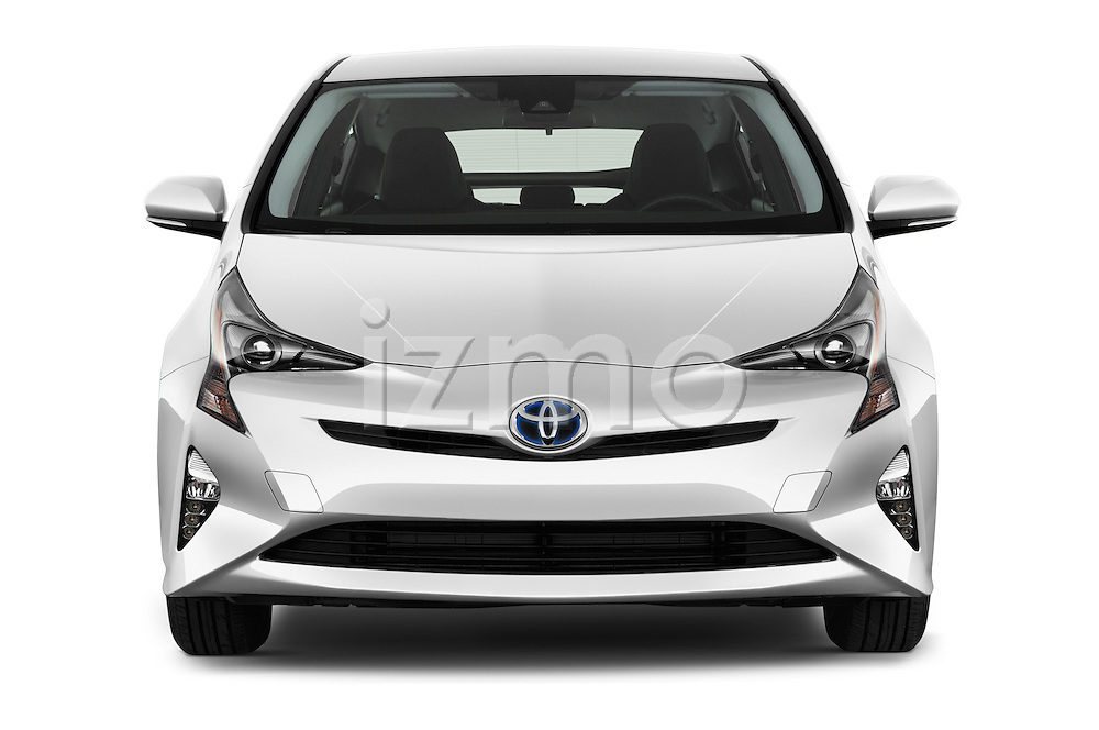 Car photography straight front view of a 2016 Toyota Prius Comfort 5 Door Hatchback Front View