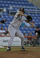 September 2, 2004:  Former first round draft pick, Pitcher Abe Alvarez of the Portland Sea Dogs, Double-A Eastern League affiliate of the Boston Red Sox, during a game at NYSEG Stadium in Binghamton, NY.  Photo by:  Mike Janes/Four Seam Images