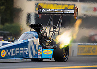 Sep 13, 2019; Mohnton, PA, USA; NHRA top fuel driver Leah Pritchett during qualifying for the Keystone Nationals at Maple Grove Raceway. Mandatory Credit: Mark J. Rebilas-USA TODAY Sports
