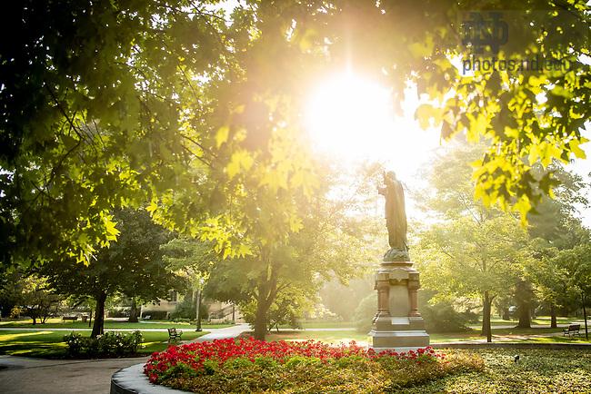 August 21, 2018; Sacred Heart Jesus statue on main quad (Photo by Matt Cashore/University of Notre Dame)