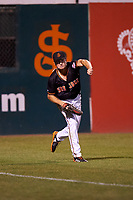 San Jose Giants left fielder Logan Baldwin (1) during a California League game against the Visalia Rawhide on April 12, 2019 at San Jose Municipal Stadium in San Jose, California. Visalia defeated San Jose 6-2. (Zachary Lucy/Four Seam Images)