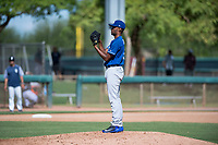 Los Angeles Dodgers relief pitcher Andre Jackson (15) looks in for the sign during an Instructional League game against the San Diego Padres at Camelback Ranch on September 25, 2018 in Glendale, Arizona. (Zachary Lucy/Four Seam Images)