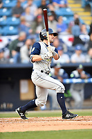 Columbia Fireflies center fielder Brodey Quinn (2) swings at a pitch during a game against the Asheville Tourists at McCormick Field on April 12, 2018 in Asheville, North Carolina. The Fireflies defeated the Tourists 7-5. (Tony Farlow/Four Seam Images)