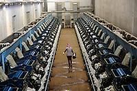TURKEY, Kesik, near Menemen, Genel Pamuk ginning factory, processing of harvested conventional cotton, seperating of fibre and seed and pressing and packaging in cotton bales to supply the turkish textile industry / TUERKEI, Kesik, bei Menemen, Entkernungsfabrik Genel Pamuk, die konventionelle Baumwolle wird hier weiter verarbeitet, es werden Faser und Baumwollsamen sowie Stiel- u. Blattreste getrennt und die Baumwollefaser in Ballen gepresst und verpackt und an die tuerkische Textilindustrie geliefert