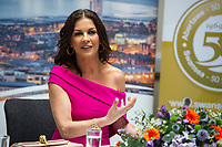 Catherine Zeta-Jones during the press conference at the Guildhall in Swansea, Wales, UK. Wednesday 24 July 2019<br /> Re: Catherine Zeta-Jones receives the honorary freedom of the City and County of Swansea during a ceremony at the Guildhall in Swansea, Wales, UK.